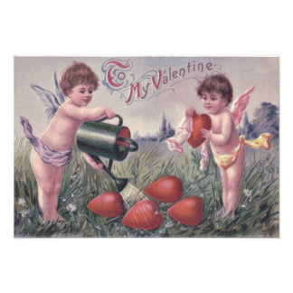 Cupid Cherub Angel Watering Heart Photo Print