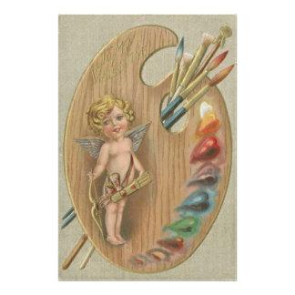 Cupid Cherub Paint Brush Palette Heart Art Photo