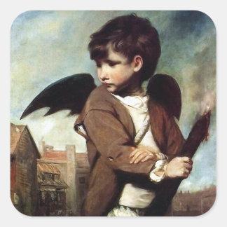 Cupid como muchacho del vínculo calcomanía cuadradas personalizada