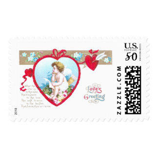 Cupid Composing Love Poetry Postage