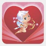 Cupid con el arco y la flecha calcomanía cuadrada