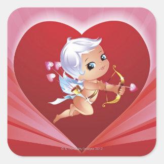 Cupid con el arco y la flecha pegatina cuadrada