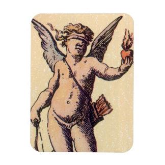 Cupid con los ojos vendados del vintage, carta de iman de vinilo