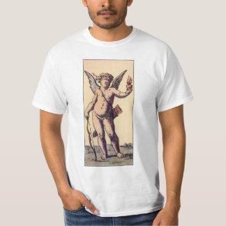 Cupid con los ojos vendados del vintage, carta de playera