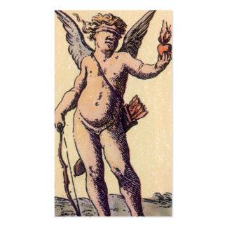 Cupid con los ojos vendados del vintage, carta de tarjetas de visita