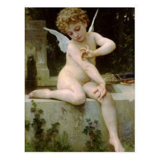 Cupid con una mariposa de Guillermo Bouguereau Postal