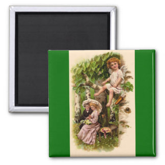 Cupid & Couple Vintage Valentine's Day 2 Inch Square Magnet
