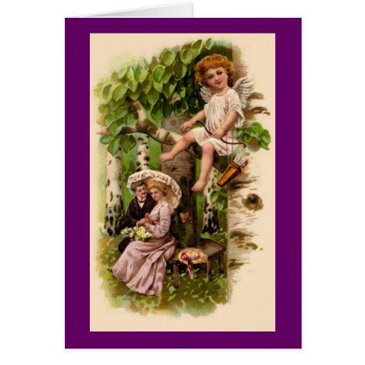 Cupid & Couple Vintage Valentine's Card