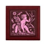 Cupid de madera de encargo del rosa de la caja de joyero cuadrado pequeño