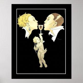 Cupid del art déco con el poster del vintage de lo