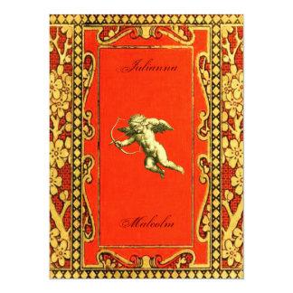 Cupid del carmín y del oro invitación 13,9 x 19,0 cm