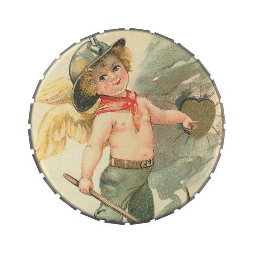 Cupid del minero del vintage jarrones de dulces