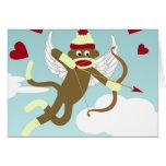 Cupid del mono del calcetín felicitaciones