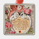Cupid del vintage con la paloma y la letra de amor ornamento para reyes magos