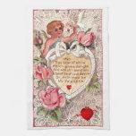 Cupid del vintage con la paloma y la letra de amor toallas de cocina