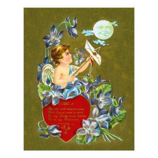 Cupid del vintage y tarjeta del día de San Plantillas De Membrete