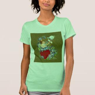 Cupid del vintage y tarjeta del día de San Valentí Camisetas