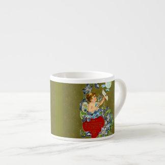 Cupid del vintage y tarjeta del día de San Valentí Tazas Espresso