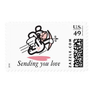 Cupid dog postage stamp