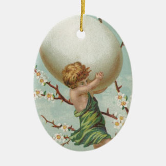 Cupid Easter Egg Dogwood Tree Ceramic Ornament