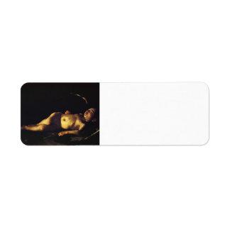 Cupid el dormir de Caravaggio- Etiqueta De Remite