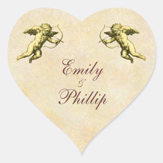 Cupid elegante del vintage pegatina en forma de corazón