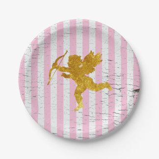 Cupid elegante lamentable en rayas platos de papel