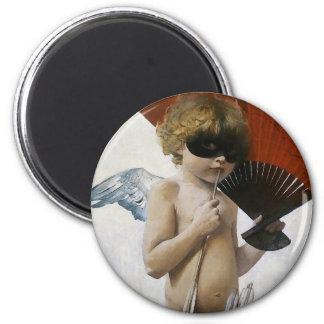 Cupid en la bola enmascarada imán redondo 5 cm