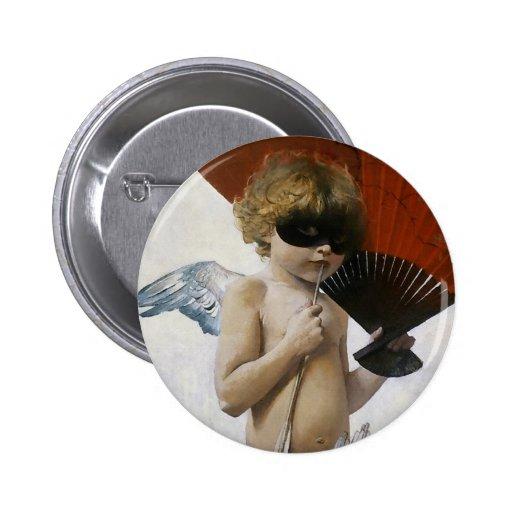 Cupid en la bola enmascarada pin redondo 5 cm