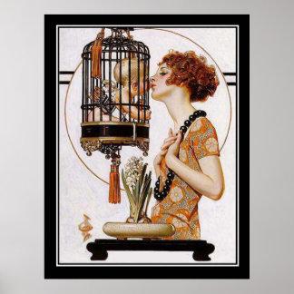 Cupid en una impresión del art déco de la jaula posters