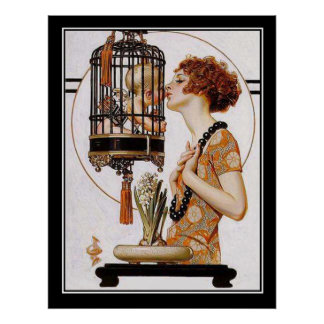 Cupid en una impresión del art déco de la jaula póster