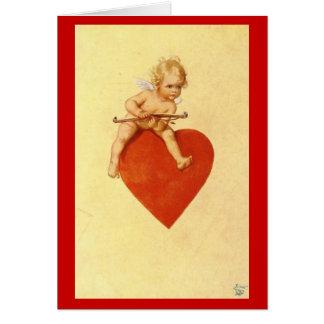 Cupid en una tarjeta del día de San Valentín del