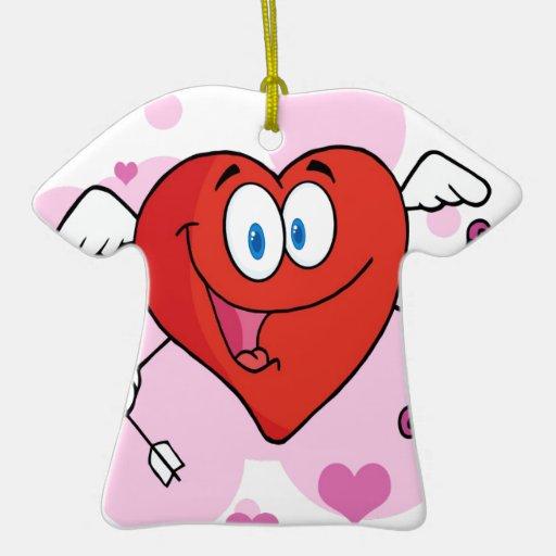 Cupid feliz del corazón con un arco y una flecha adorno navideño de cerámica en forma de playera