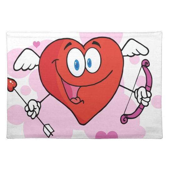 Cupid feliz del corazón con un arco y una flecha manteles individuales