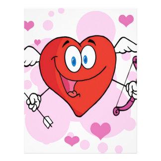 Cupid feliz del corazón con un arco y una flecha membrete a diseño