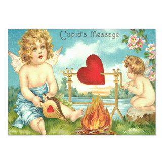 Cupid Fire Heart Stream Flowers Wedding Invitation