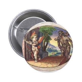 Cupid fleeing from a demon; Emblemala amatoria; 2 Inch Round Button