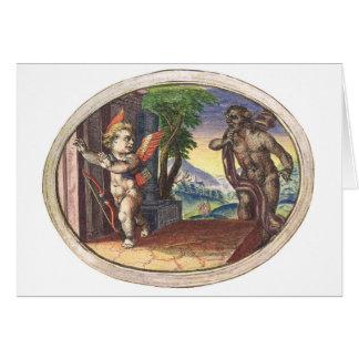 Cupid fleeing from a demon; Emblemala amatoria; Greeting Card