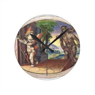 Cupid fleeing from a demon; Emblemala amatoria; Round Wall Clocks