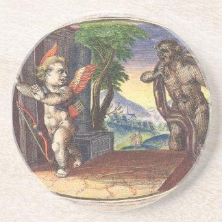 Cupid fleeing from a demon; Emblemala amatoria; Coaster