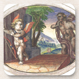 Cupid fleeing from a demon; Emblemala amatoria; Beverage Coasters