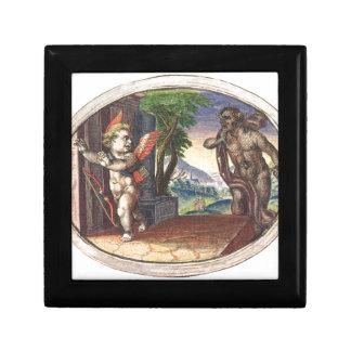 Cupid fleeing from a demon; Emblemala amatoria; Keepsake Boxes