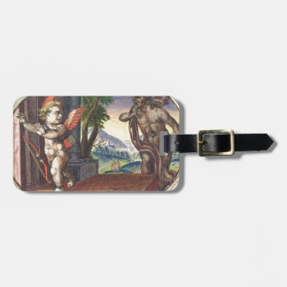 Cupid fleeing from a demon; Emblemala amatoria; Tags For Luggage