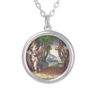Cupid fleeing from a demon; Emblemala amatoria; Round Pendant Necklace