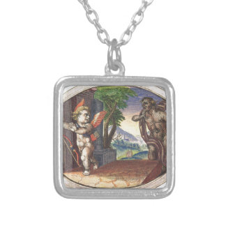 Cupid fleeing from a demon; Emblemala amatoria; Square Pendant Necklace