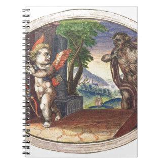 Cupid fleeing from a demon; Emblemala amatoria; Notebooks