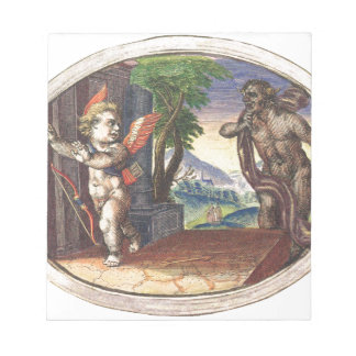 Cupid fleeing from a demon; Emblemala amatoria; Memo Note Pad