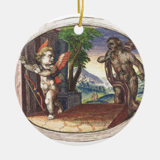 Cupid fleeing from a demon; Emblemala amatoria; Double-Sided Ceramic Round Christmas Ornament