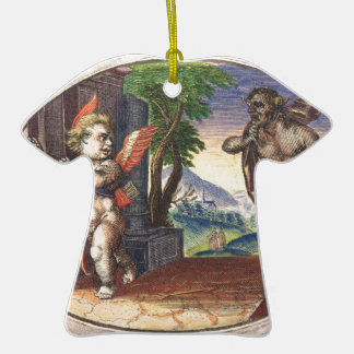 Cupid fleeing from a demon; Emblemala amatoria; Double-Sided T-Shirt Ceramic Christmas Ornament