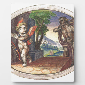 Cupid fleeing from a demon; Emblemala amatoria; Display Plaques